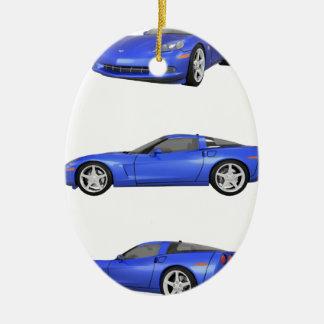 Blue Corvette: Christmas Ornament