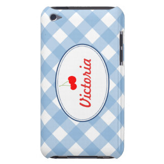 Blue country gingham pattern red cherry custom barely there iPod case