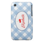 Blue country gingham pattern red cherry custom iPhone 3 covers