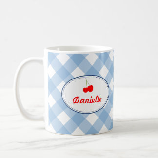 Blue country gingham pattern red cherry personal basic white mug