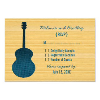 """Blue Country Guitar Response Card 3.5"""" X 5"""" Invitation Card"""