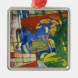 Blue Cow, 1914 (tempera on paper) Silver-Colored Square Decoration