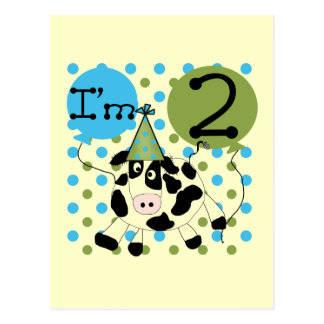 Blue Cow 2nd Birthday Tshirts and Gifts Postcards