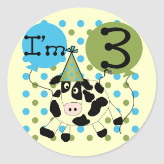 Blue Cow 3rd Birthday Tshirts and Gifts Round Sticker