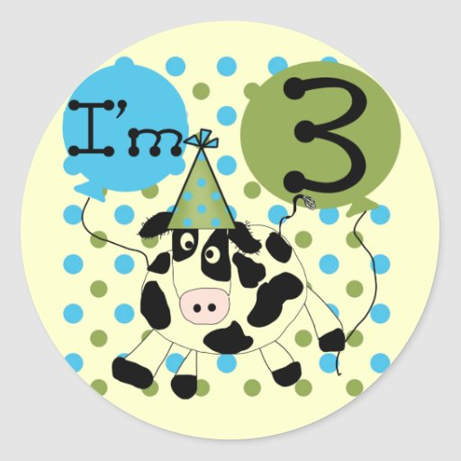 Blue Cow 3rd Birthday Tshirts and Gifts Round Stickers