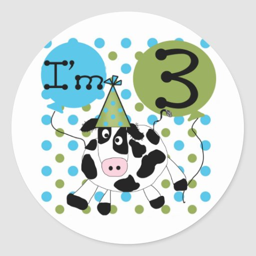 Blue Cow 3rd Birthday Tshirts and Gifts Sticker