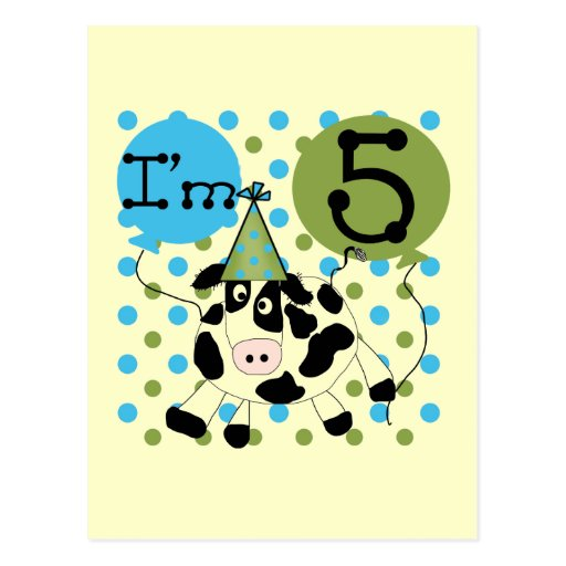 Blue Cow 5th Birthday Tshirts and Gifts Postcard