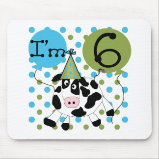 Blue Cow 6th Birthday Mouse Pad