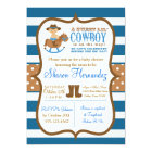 Blue Cowboy Baby Boy Shower Invitation Striped