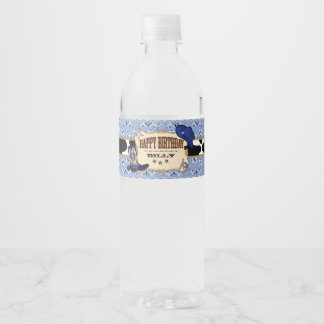 Blue Cowboy, Western Birthday Party Water Bottle Label