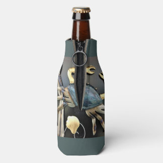 Blue Crab Abstract Bottle Cooler