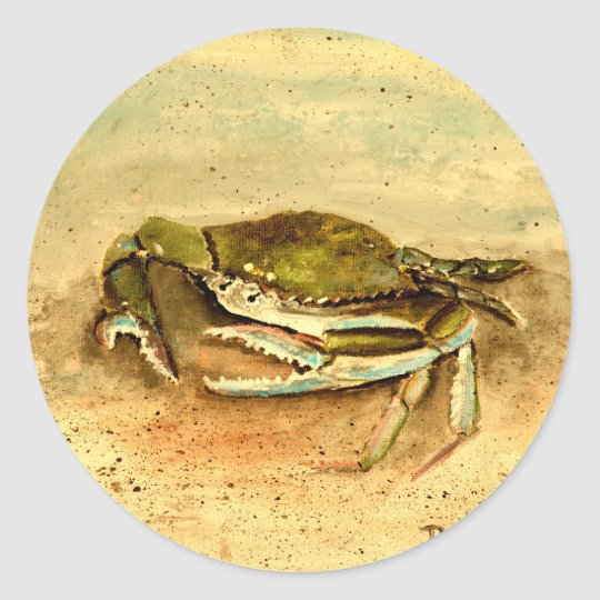 blue crab acrylic painting sea marine life round sticker