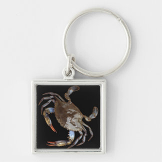 Blue Crab Silver-Colored Square Key Ring