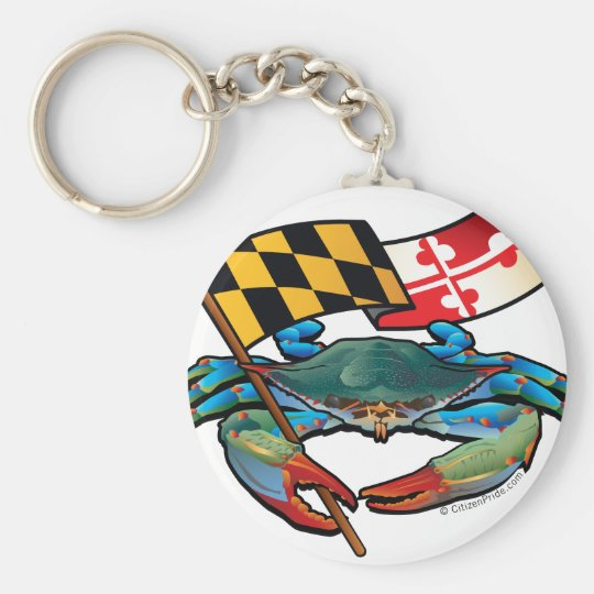 Blue Crab Maryland flag Key Ring