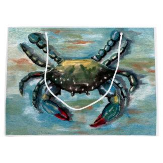 Blue Crab on Blue Large Gift Bag
