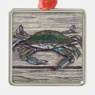 Blue Crab on Dock Premium Ornament