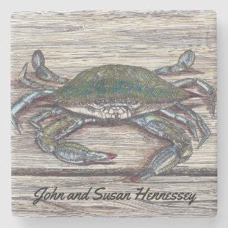 Blue Crab on Dock Stone Coaster