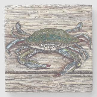 Blue Crab on Dock Stone Coaster