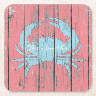 Blue Crab Personalize Square Paper Coaster