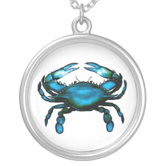 Blue Crab Round Pendant Necklace