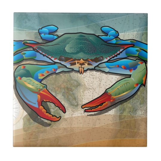 Blue Crab Small Square Tile