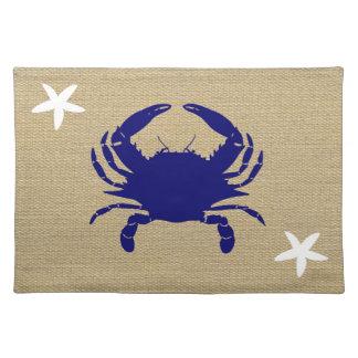 "Blue Crab & White Starfish Nautical Beach ""Burlap"" Placemat"