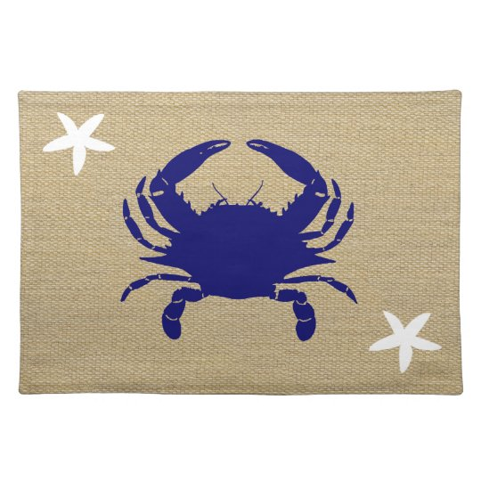 "Blue Crab & White Starfish Nautical Beach ""Burlap"""