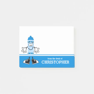 Blue Crayon Personalized Post-it Notes