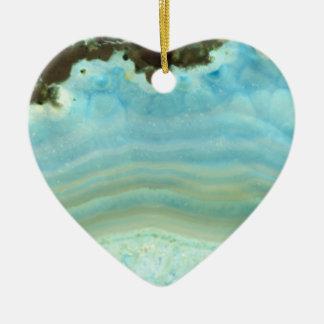 Blue Cream Agate Geode Gemstone Crystal Patterns Christmas Ornament