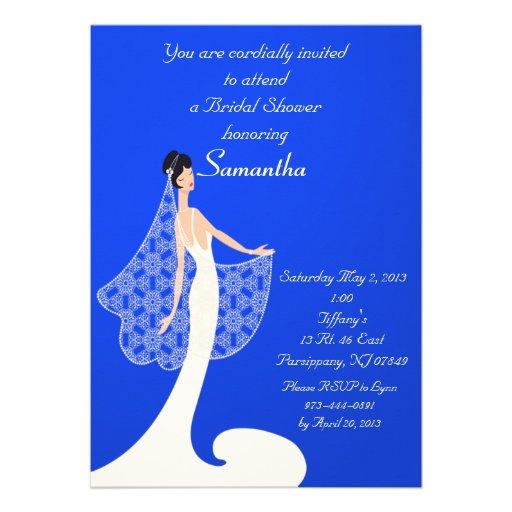 Blue & Cream Bride Bridal Shower Invitation