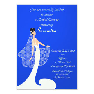 Blue & Cream Bride Bridal Shower Invitation