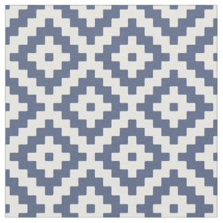 Blue & Cream Mayan Stepped Pattern Fabric