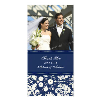 Blue Cream Thank You Wedding Photo Cards