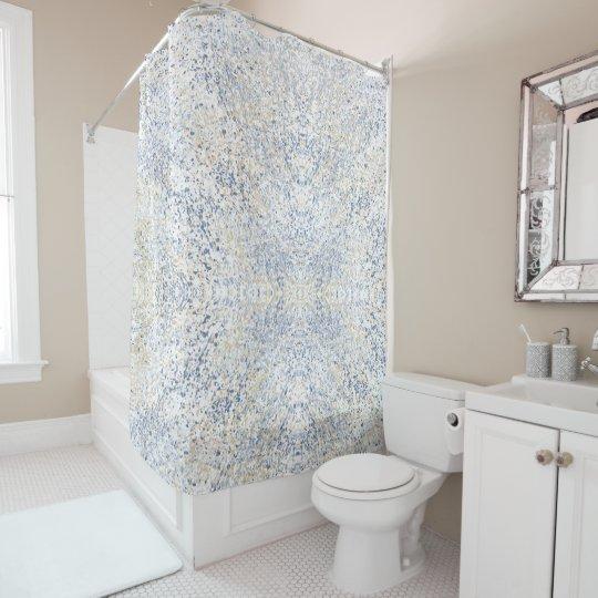 Blue Cream Watercolor Abstract Splatter Shower Curtain