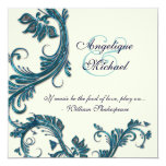 Blue cream wedding anniversary engagement 13 cm x 13 cm square invitation card
