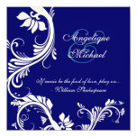 Blue cream wedding floral elegance 13 cm x 13 cm square invitation card