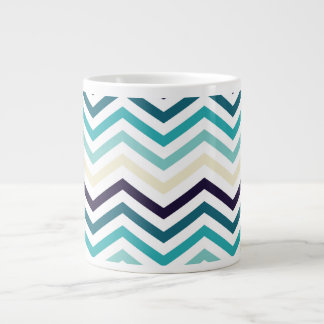 Blue Cream Zigzag Chevrons Large Coffee Mug