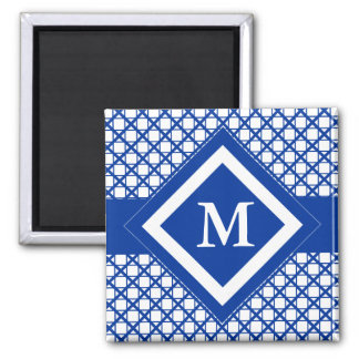 Blue Crisscross & Boxes Geometric Pattern Refrigerator Magnets