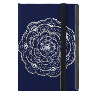 Blue Crocheted Doily Doodle iPad Mini Covers