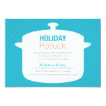 BLUE CROCK POT | HOLIDAY POTLUCK INVITATIONS 13 CM X 18 CM INVITATION CARD