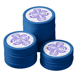 Blue Crop Circle Set Of Poker Chips