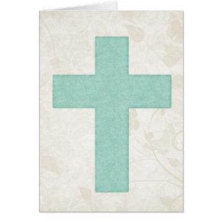 Blue Cross 1 Blank Christian Greeting Card