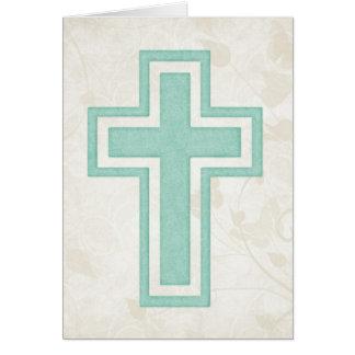 Blue Cross 3 Blank Christian Greeting Card