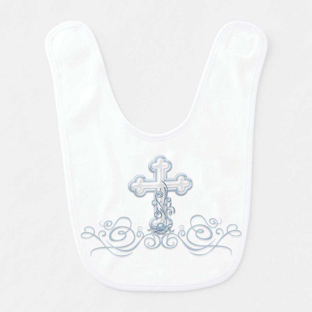 Blue Cross Baby Boy Baptism Christening Bibs