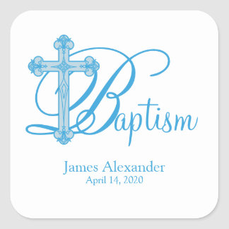 blue cross BAPTISM custom party favor label