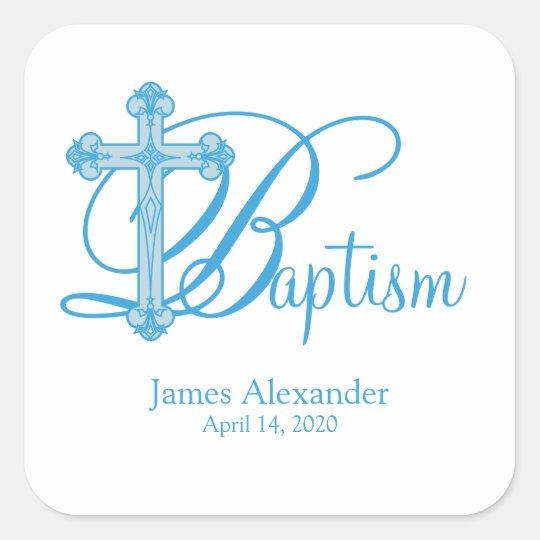 blue cross BAPTISM custom party favour label