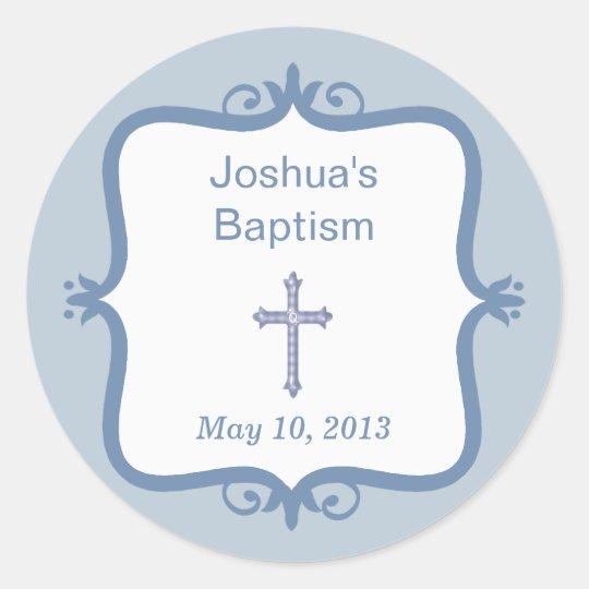 Blue Cross Baptism Round Sticker