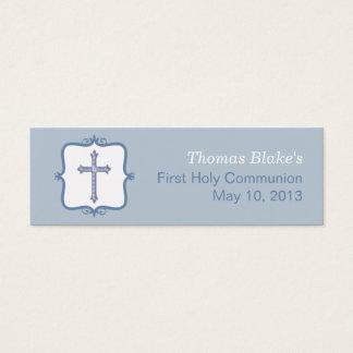 Blue Cross Communion Small Tag
