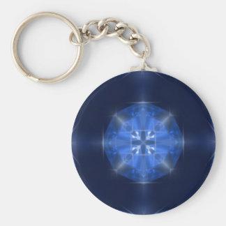 Blue Cross Design Tile by CGB Digital Art.png Key Ring