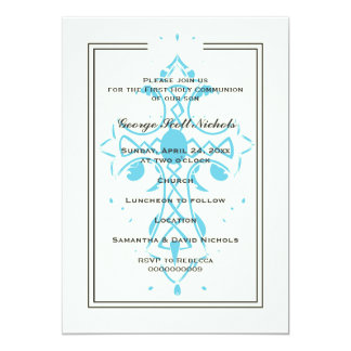 Blue Cross First Communion Baptism Confirmation 13 Cm X 18 Cm Invitation Card